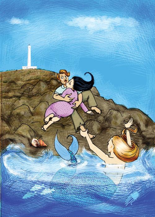 Illustrazioni Pietro Galeoto: SANTA MARIA DI LEUCA - L'inganno di Leucasia  Tavola a colori inedita proposta per la copertina