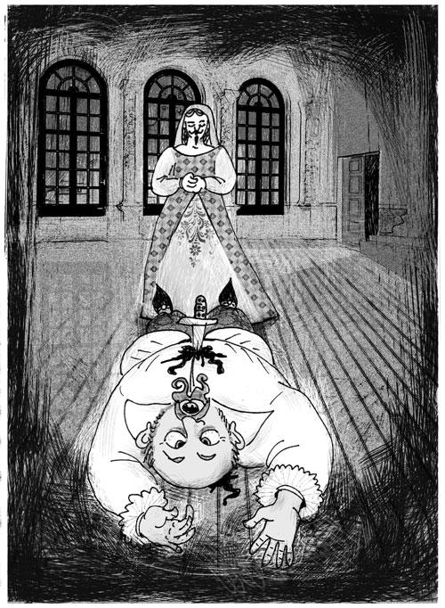 """Illustrazioni Pietro Galeoto: MATINO - L'inganno della prima notte   """"I matrimoni, dunque, appena celebrati culminavano tutti nell'alcova del vizioso marchese""""."""
