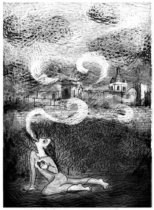 """Illustrazioni Pietro Galeoto:  ORIA - La nebbia eterna del castello maledetto   """"Con il suo sangue, decretarono i divinatori, si dovevano impregnare le pietre dei muri che solo così si sarebbero fissate per sempre nel tempo""""."""