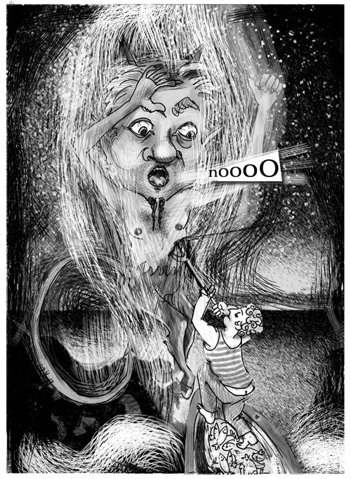 """Illustrazioni Pietro Galeoto:  PORTO CESAREO  -  Chicco contro Satana   """"Osce, se me ccappa, 'nfiocinu puru lu tiaulu!"""", urlò ai suoi amici da prua men- tre la barca solcava il mare setoso""""."""