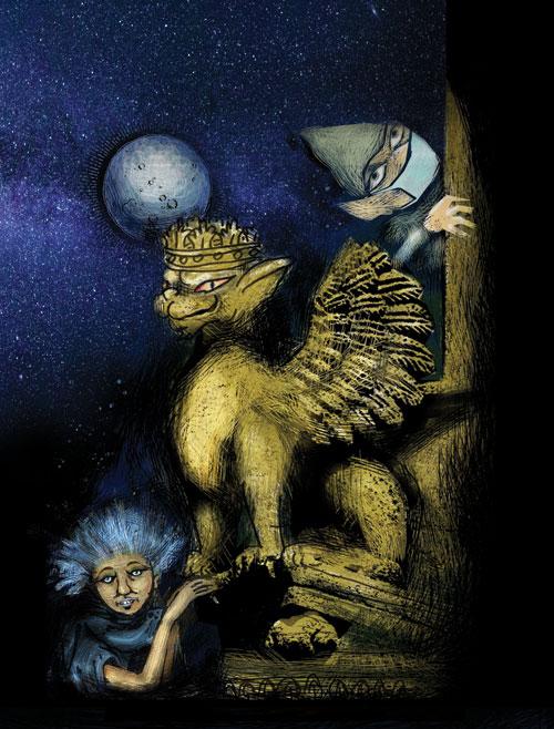 Illustrazioni Pietro Galeoto:  SOLETO - La notte del Diavolo e dei grifoni di pietra  Tavola a colori inedita proposta per la copertina
